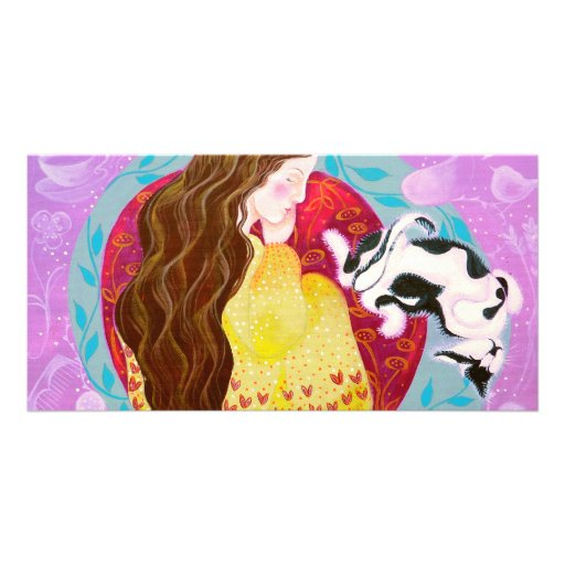 Dreaming Woman and Cat. Customized Photo Card