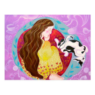 Dreaming Woman and Cat Post Card