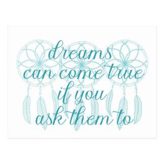 Dreams Can Come True Teal Slogan Dreamcatcher Postcard