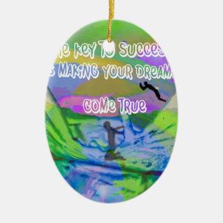 Dreams come true ceramic oval ornament