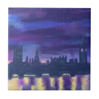 Dreams of London at Night Ceramic Tile