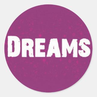Dreams on Purple Round Sticker
