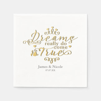 DREAMS REALLY DO COME TRUE Gold Princess Napkins