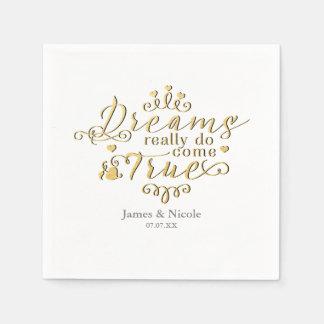 DREAMS REALLY DO COME TRUE Gold Princess Napkins Disposable Napkin