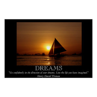 Dreams Sunset Sailboat Motivational Poster