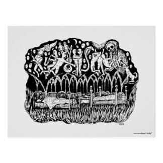 Dreams surreal black and white pen ink drawing posters