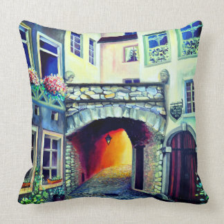 Dreamscape Luxembourg bohemian city Throw Pillow