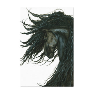 DreamWalker Friesian Black Horse Art by Bihrle Canvas Print