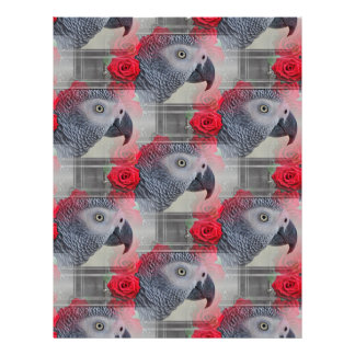 Dreamy African Grey with Red Roses Customized Letterhead