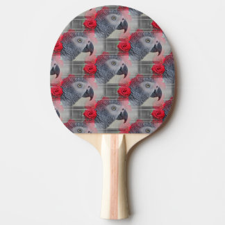 Dreamy African Grey with Red Roses Ping Pong Paddle