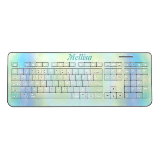 Dreamy Blue and Yellow Cloudy Abstract Your Name Wireless Keyboard