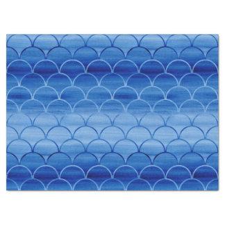 Dreamy Blue Painted Fan Shapes Pattern Tissue Paper