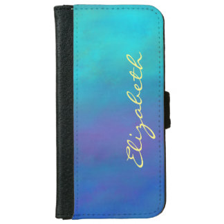 Dreamy Blues Abstract Design iPhone 6 Wallet Case