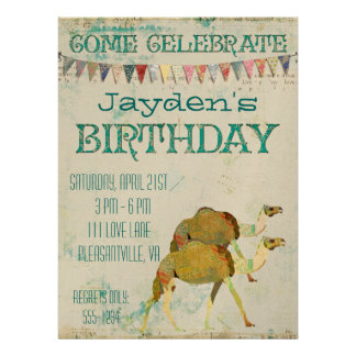 Dreamy Camels Birthday Invitation