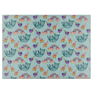 Dreamy Cat Floating in the Sky Watercolor Pattern Boards