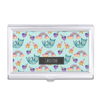Dreamy Cat Floating in the Sky Watercolor Pattern Business Card Holders