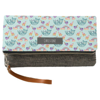 Dreamy Cat Floating in the Sky Watercolor Pattern Clutch
