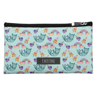 Dreamy Cat Floating in the Sky Watercolor Pattern Cosmetic Bag