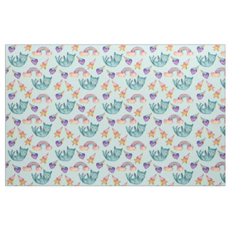 Dreamy Cat Floating in the Sky Watercolor Pattern Fabric