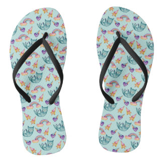 Dreamy Cat Floating in the Sky Watercolor Pattern Flip Flops