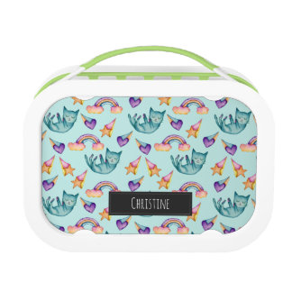 Dreamy Cat Floating in the Sky Watercolor Pattern Lunch Box