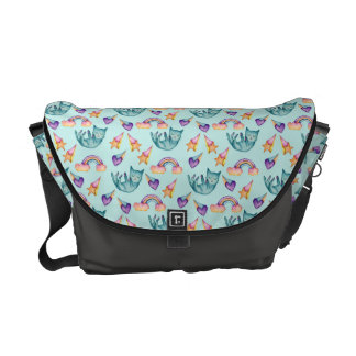 Dreamy Cat Floating in the Sky Watercolor Pattern Messenger Bag