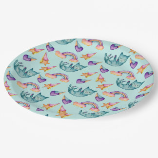 Dreamy Cat Floating in the Sky Watercolor Pattern Paper Plate