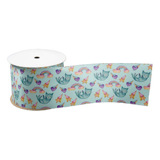 Dreamy Cat Floating in the Sky Watercolor Pattern Satin Ribbon