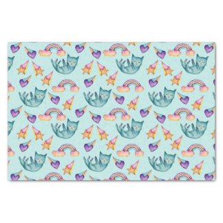 Dreamy Cat Floating in the Sky Watercolor Pattern Tissue Paper