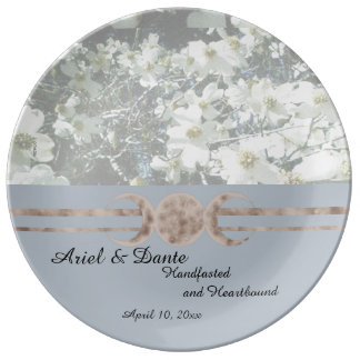 Dreamy Dogwood Triple Moon Handfasting Porcelain Plate