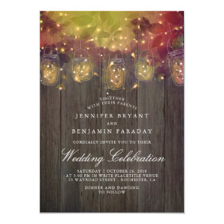 Dreamy Firefly Lights and Mason Jar Rustic Wedding Card