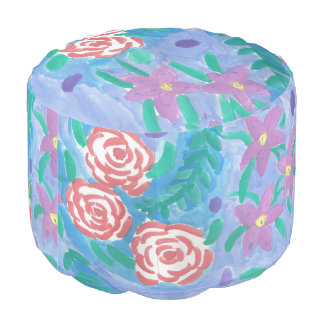 Dreamy Floral Watercolor Pouf