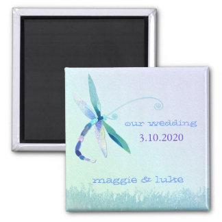 Dreamy Garden Dragonfly Wedding Invitation Magnet