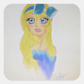 Dreamy girl square sticker