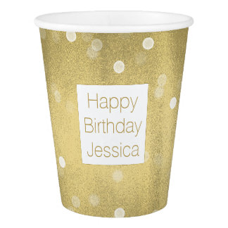 Dreamy Gold and White Confetti Bokeh Paper Cup