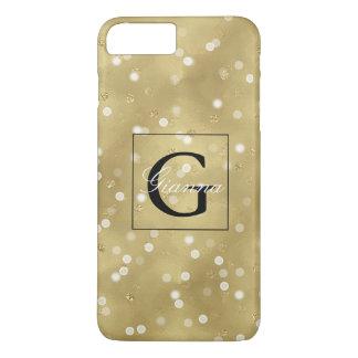 Dreamy Gold Bokeh Confetti Monogram iPhone 7 Plus Case