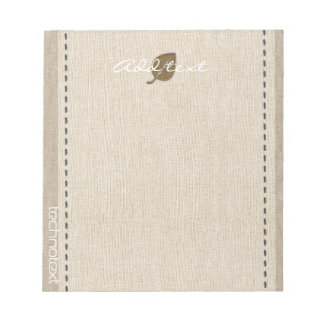 Dreamy Gold Leaf Linen Look Add Text Notepad