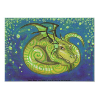 Dreamy Green Dragon swirly fantasy art Poster