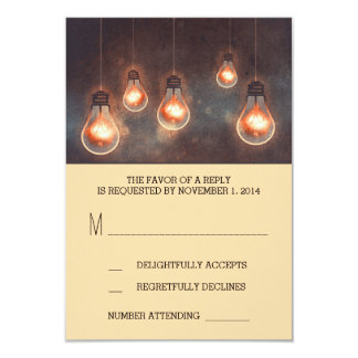 dreamy light bulbs whimsical wedding RSVP card