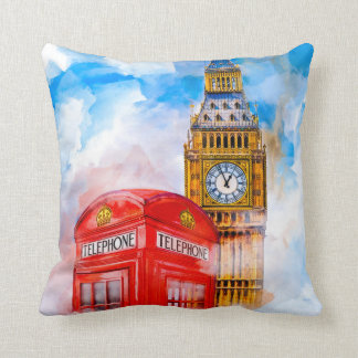 Dreamy London - Big Ben And Red Telephone Box Throw Pillow