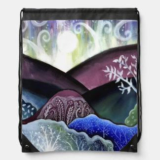 Dreamy Moonlit Landscape Drawstring Bag