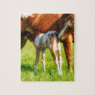 Dreamy, new horse foal with Mama Jigsaw Puzzle