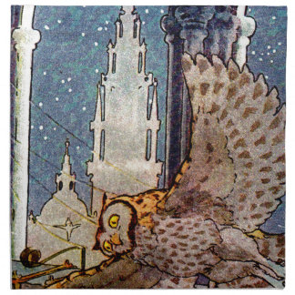 dreamy owl flying at night printed napkins