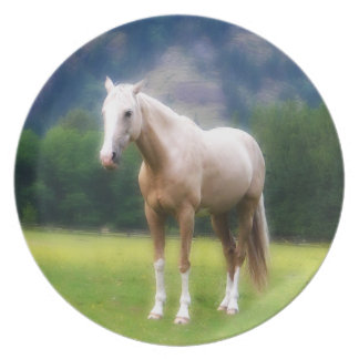 Dreamy Palomino Horse Painting Party Plates