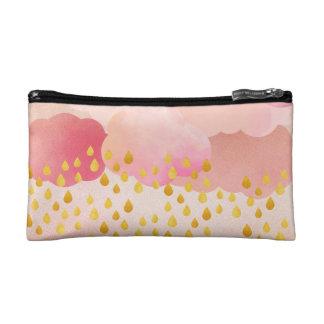 Dreamy Pink Clouds Golden Rain Drops Makeup Bag