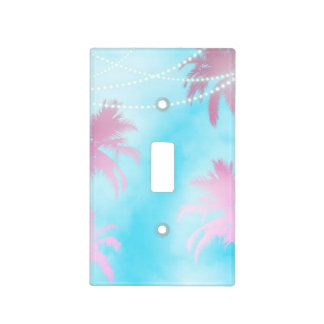 Dreamy Pink Palm Trees & Blue Sky String Lights Light Switch Cover