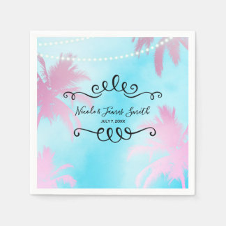 Dreamy Pink Palm Trees & Blue Sky String Lights Paper Napkins