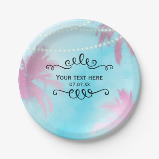 Dreamy Pink Palm Trees Blue Sky String Lights Paper Plate