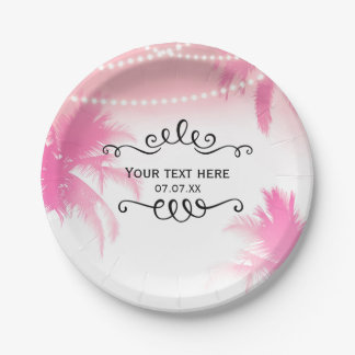 Dreamy Pink Palm Trees & String Lights Party Paper Plate