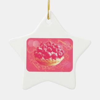 Dreamy Pink Romantic Blueberry Tart with Swirls Ceramic Star Ornament